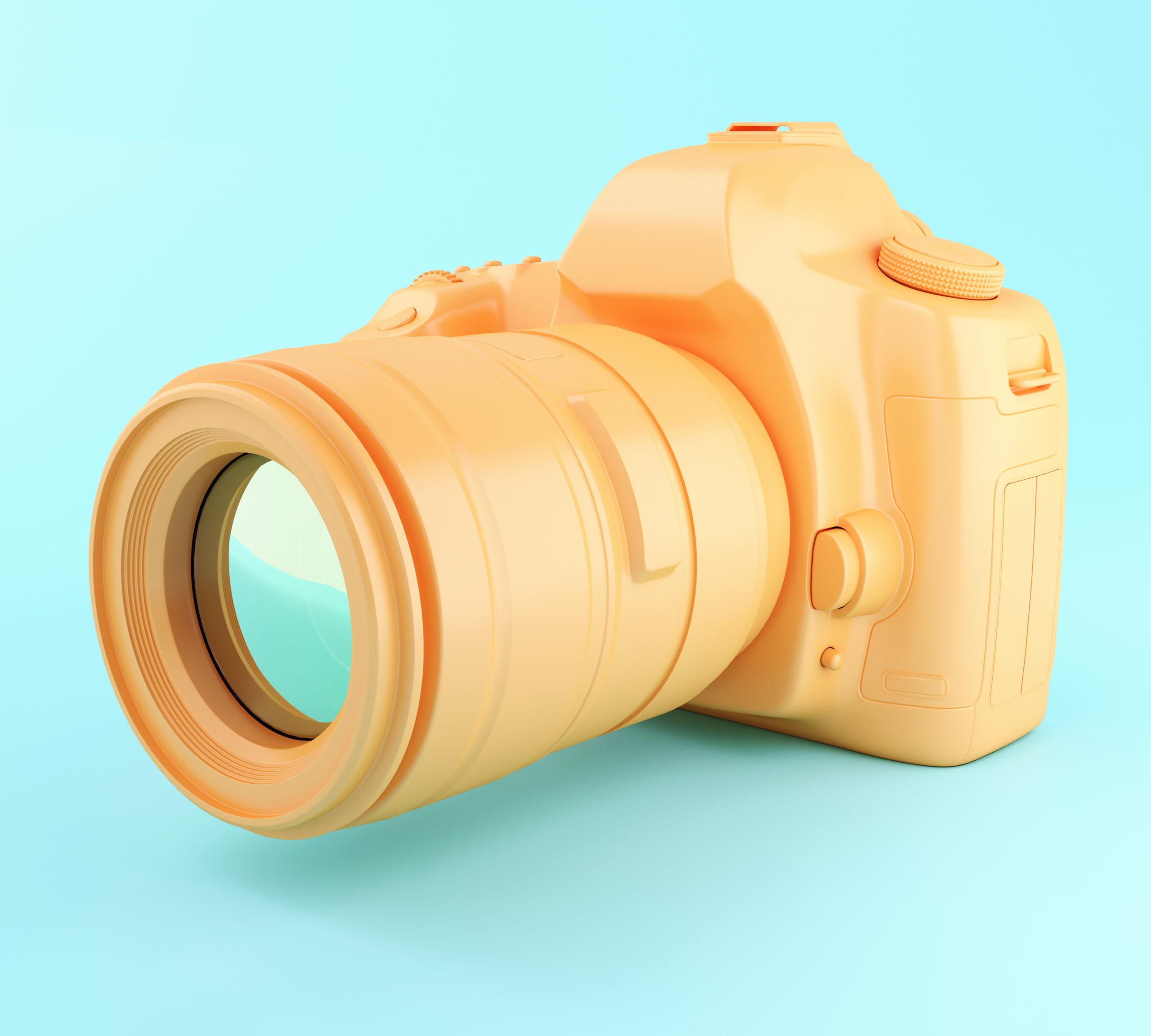 3D illustration. Digital orange photo camera on blue background.